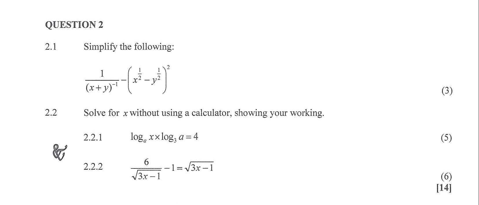 Mathematics N3 April 2020 Exam Question 2