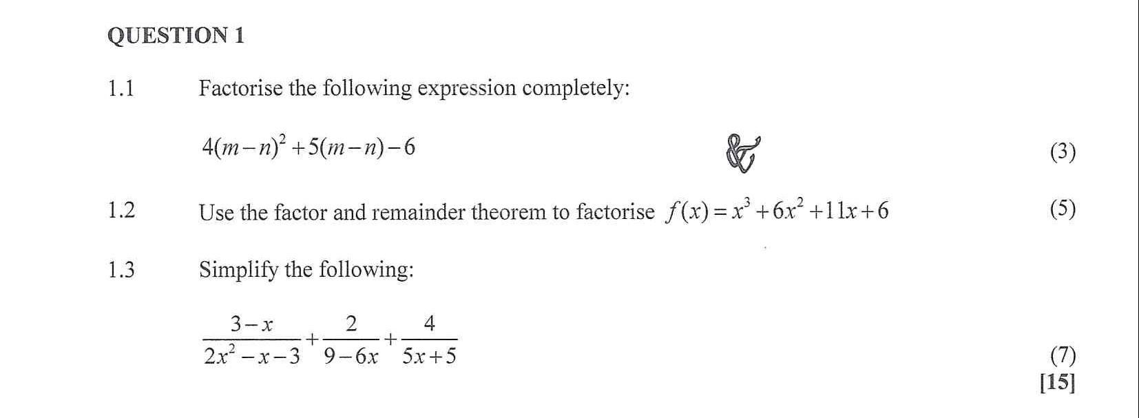 Mathematics N3 2020 Exam Question 1