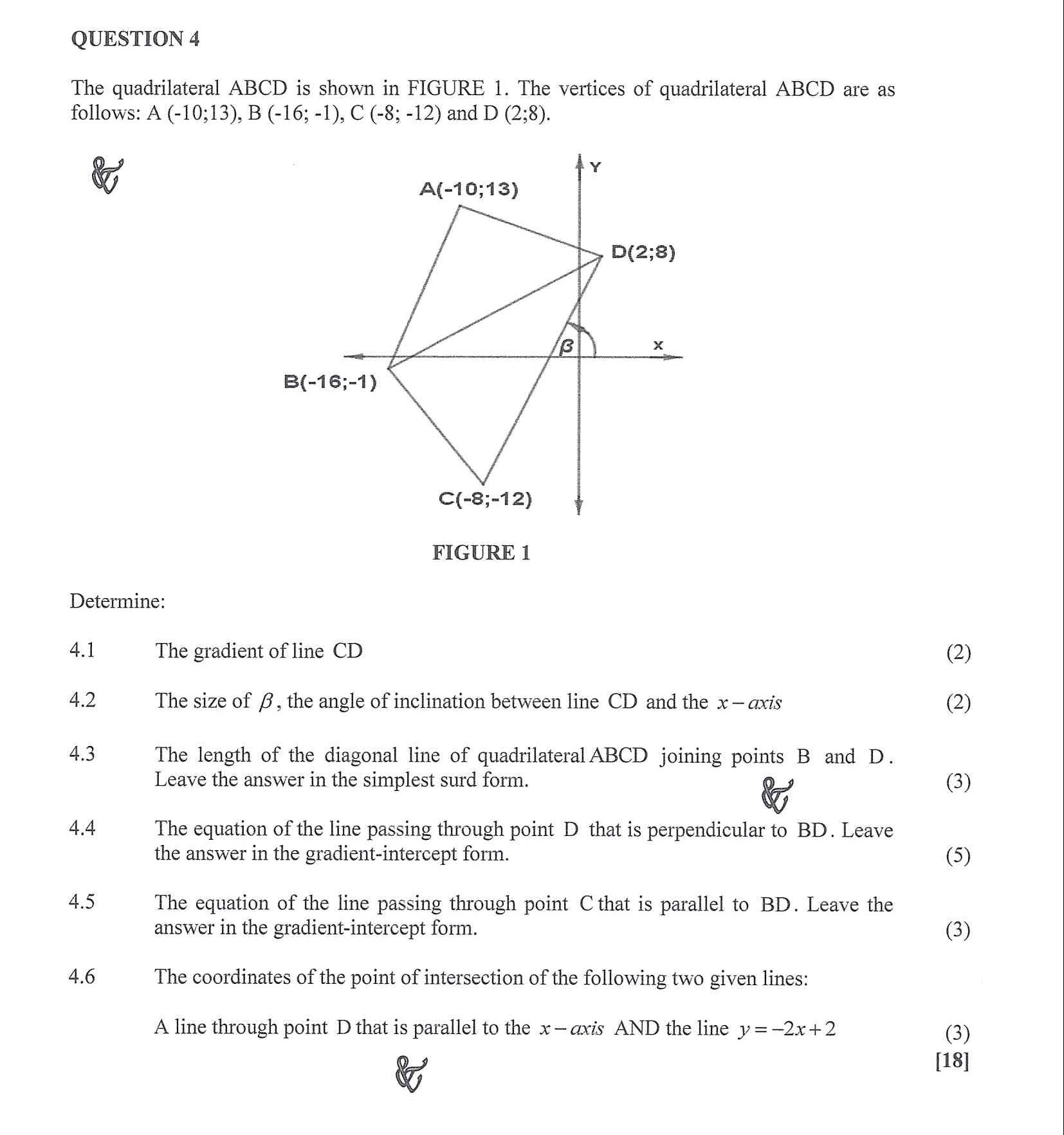 Mathematics N3 2020 April exam Question 4