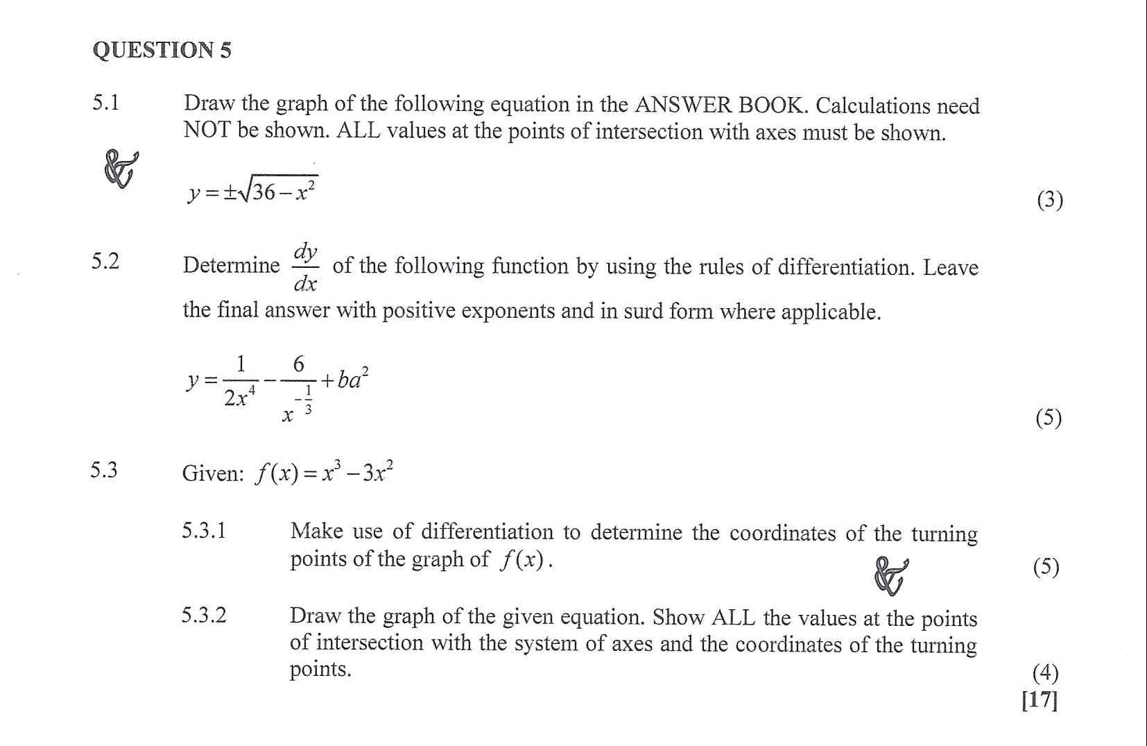 Mathematics N3 2020 April exam Question 5