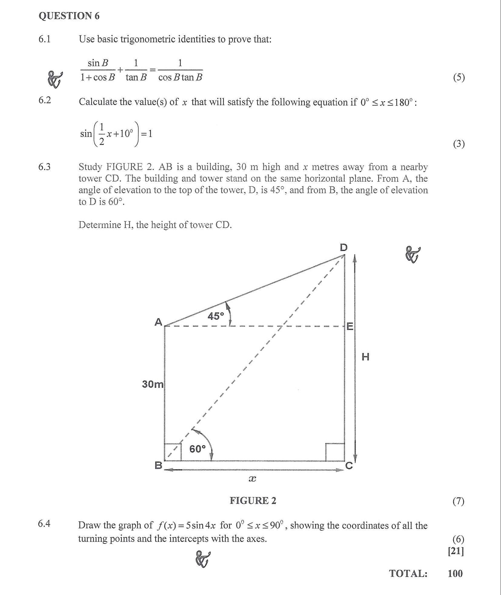 Mathematics N3 2020 April exam Question 6